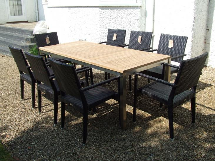 8 Seater Teak and Stainless Steel/Woven Set