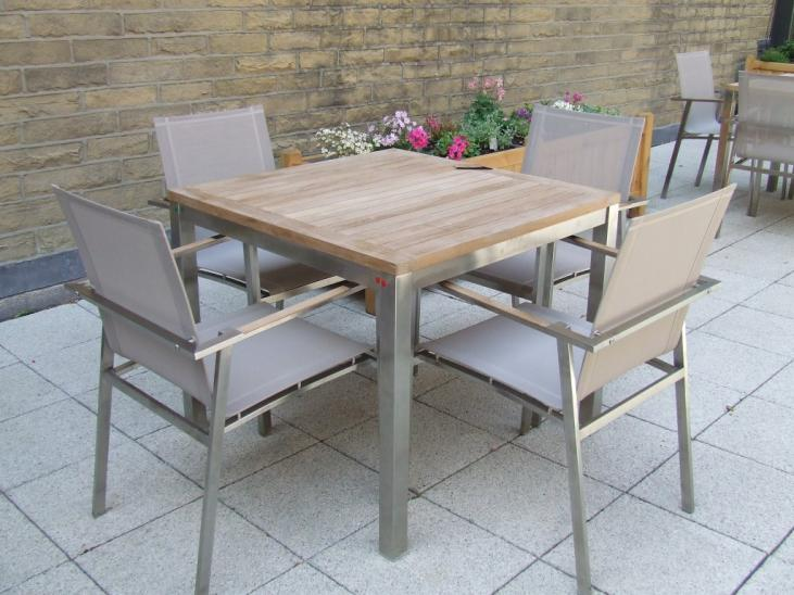 Bistro 4 Seater Teak Stainless Steel & Weave Square Set