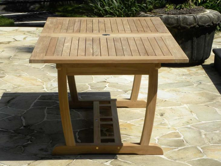 Rectangular Double Extending Teak Table - Copact