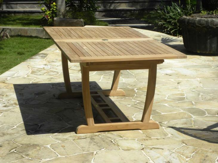 Rectangular Double Extending Teak Garden Table - Compact