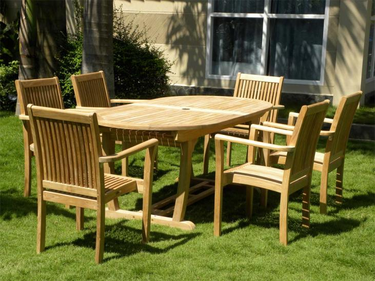 8 Seater Teak Garden Set in 6 Seat configuration