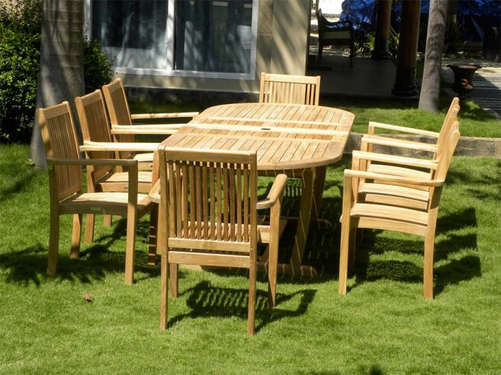 8 Seater Teak Garden Set - The Borneo Oval