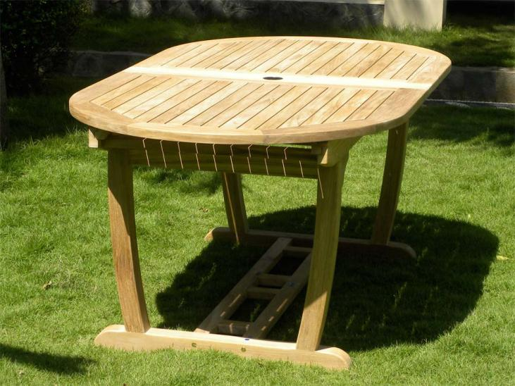 8 Seater Teak Garden Table Fully Closed