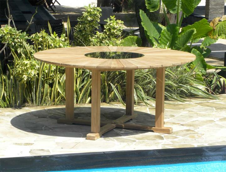 Teak Sunray Effect Table with Granite Lazy Susan - The Hawaiian