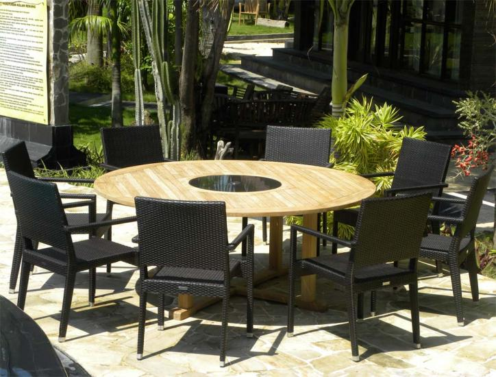 8 Seater Teak/Granite Round Set - The Bermuda + Mauritian Chairs