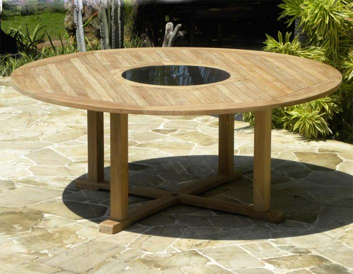 Round Teak And Granite Garden Table