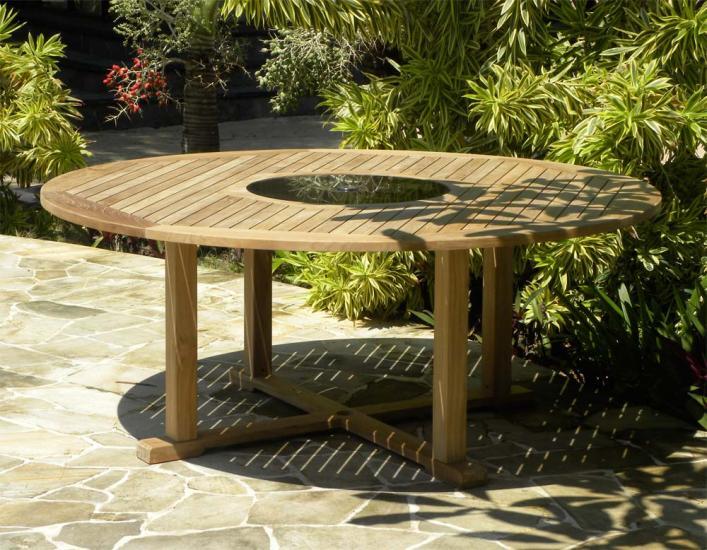 Bermuda Teak and Granite Lazy Susan Table