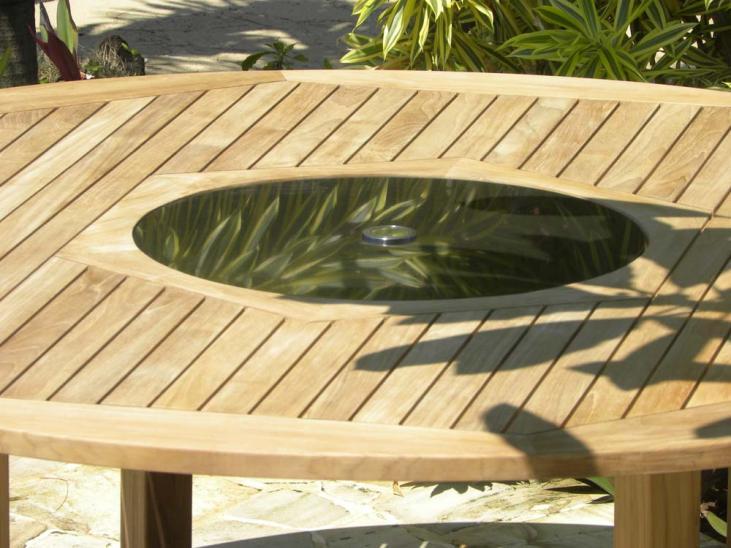 Bermuda Teak and Granite Lazy Susan Table Closeup Image