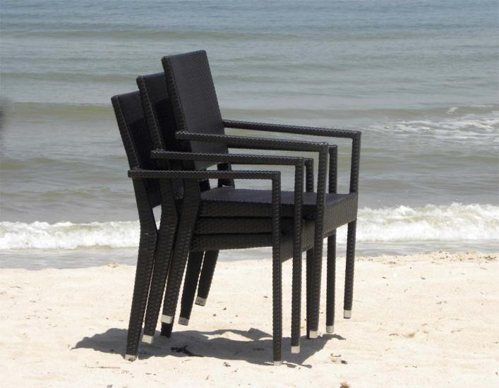 Mauritian Weave Stacking Chairs - Stacked