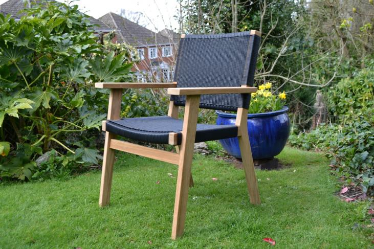 Black Rehau® weave and Teak garden armchair