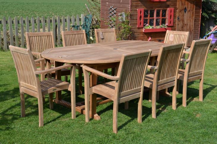 10 Seater Oval Teak Garden Set