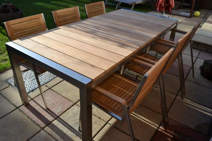 Wide Teak Plank and Stainless Steel Set