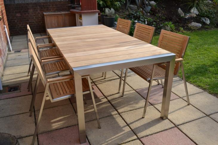 Ultra Modern Teak and Stainless Steel Set