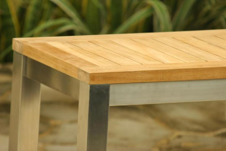 Teak/Stainless Steel Garden Bench closeup