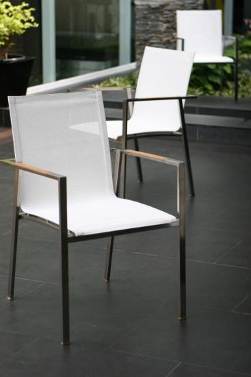Teak stainless steel and Batyline weave stacking chair