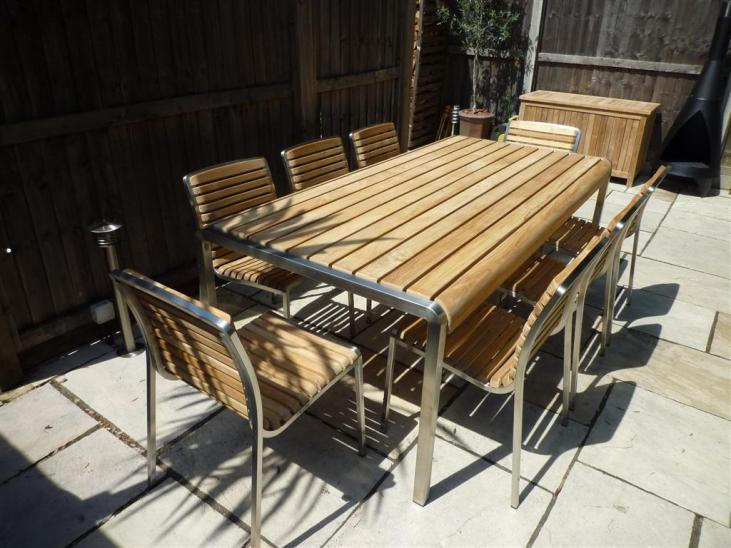Teak and stainless steel 6 seater set shown with 8 chairs (optional)