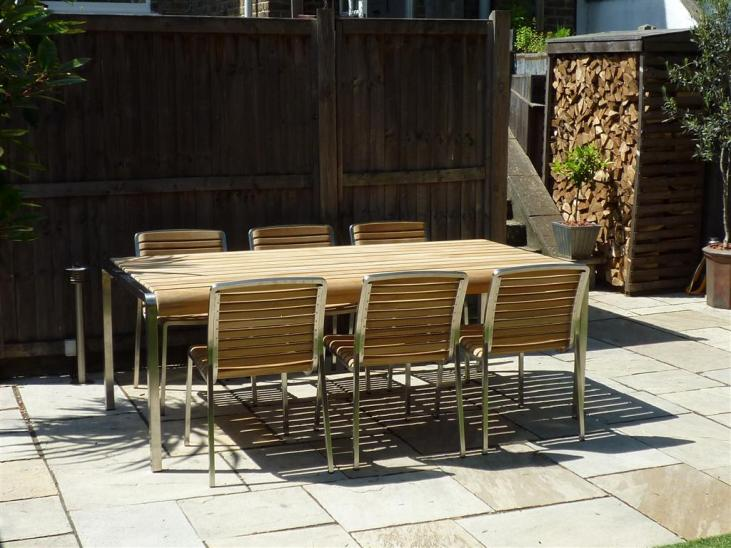 Teak and stainless steel 6 seater set