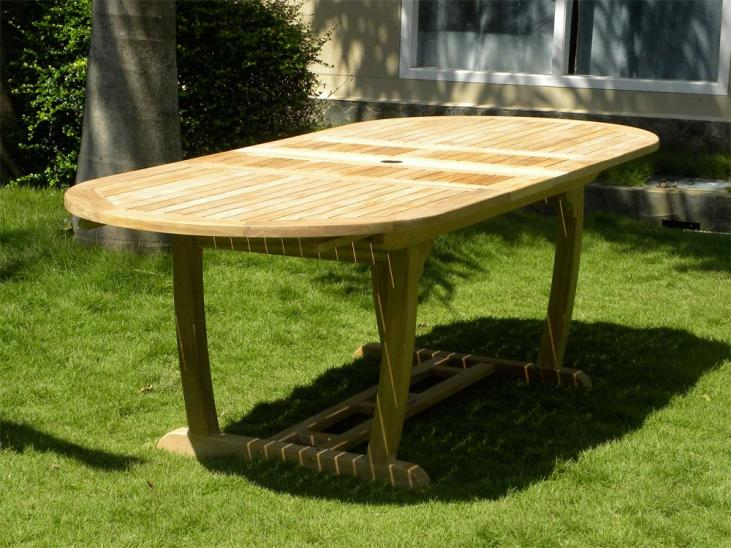 8 Seater Teak Garden Table Fully Extended