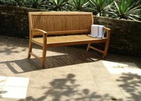 Curved Back Teak Garden Bench - Sorrento