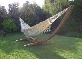 Barbados Solid Teak Hammock Stand and Natural Fabric Hammock