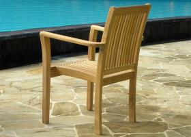 Teak Stacking Chairs - Grenada Rear View
