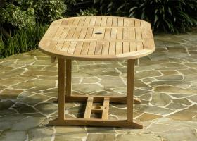 Small Oval Extending Teak Garden Table