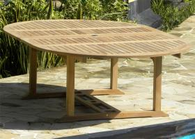 Aruba Large Double Extending Round to Oval Teak Table - Fully Extended