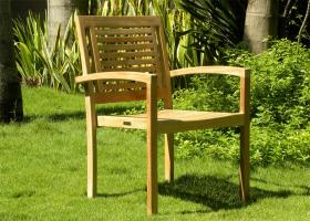 teak stacking chairs panama - Garden Furniture Traditional