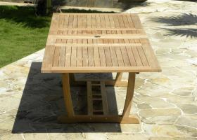 Rectangular Double Extending Teak Garden Table- Fully Extended