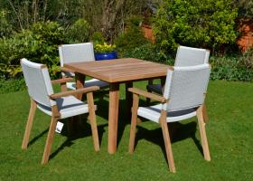 Designer 4 Seater Square Teak and Rehau® Set