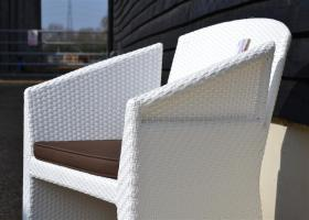 Rehau White All Weather Weave Bucket Chair with Cushion