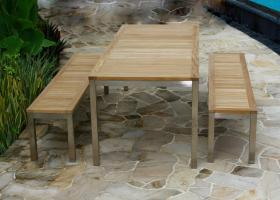 8 Seater Teak/Stainless Steel Garden Bench Set