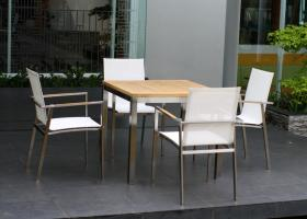 Small Square Teak Stainless Steel Weave Set