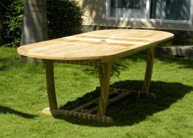 Oval Double Extending Teak Garden Table - Fully Extended