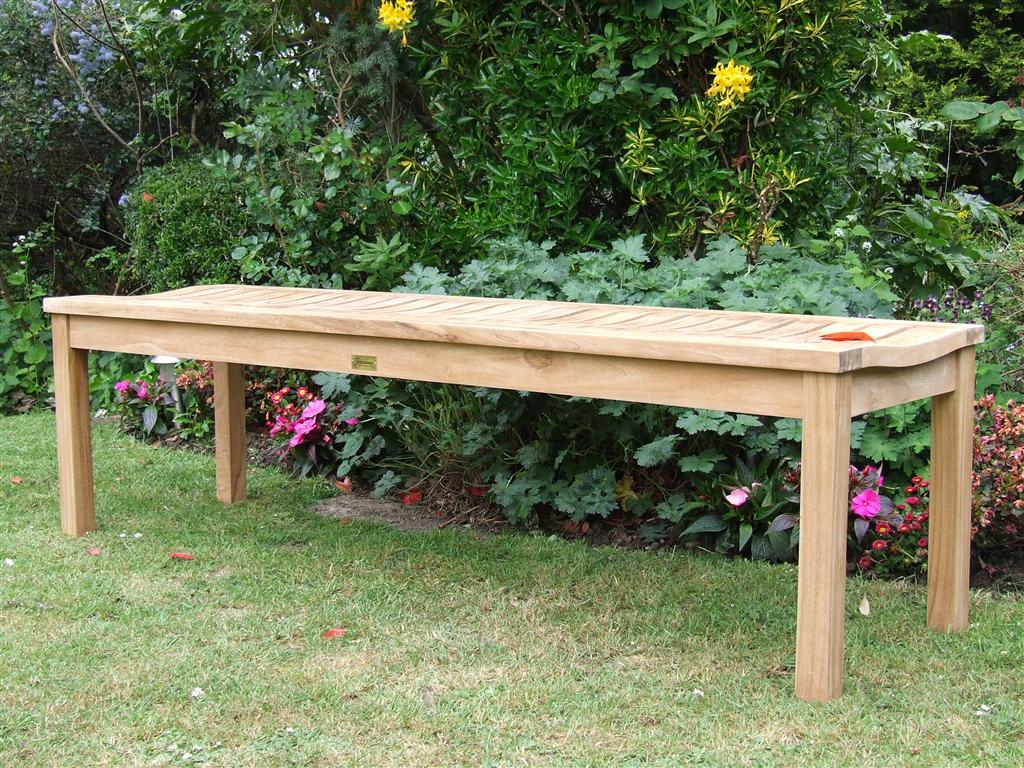 Teak Garden Backless Bench - Wave