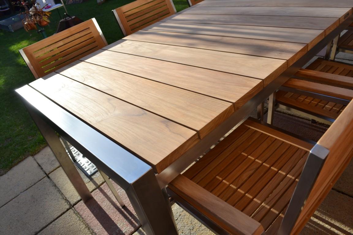 6 Seater Teak Stainless Steel Garden Set Nirvana