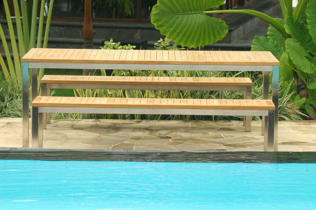 Wondrous Teak Bench Set The Lombok Teak And Stainless Steel Bench Set Cjindustries Chair Design For Home Cjindustriesco