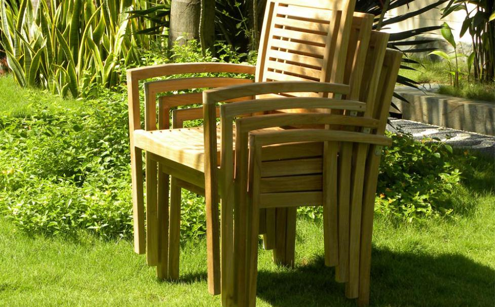 Panama Teak Stackign Chairs - Stacked